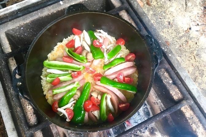 野菜パエリア作り